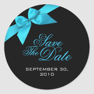 Turquoise Ribbon Save The Date Wedding Announcemen Classic Round Sticker