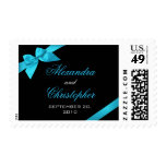 Turquoise Ribbon Save The Date Wedding Announcemen Postage Stamp