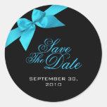 Turquoise Ribbon Save The Date Wedding Announcemen Round Sticker