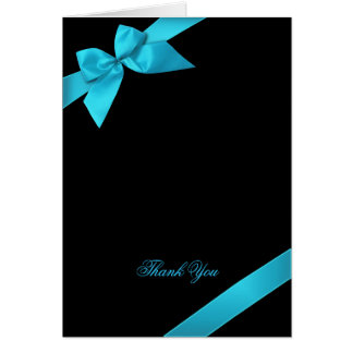 Turquoise Ribbon Thank You Greeting Cards