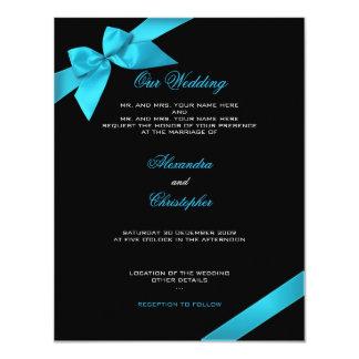 Turquoise Ribbon Wedding Announcement 2