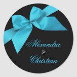 Turquoise Ribbon Wedding Announcement RSVP Classic Round Sticker