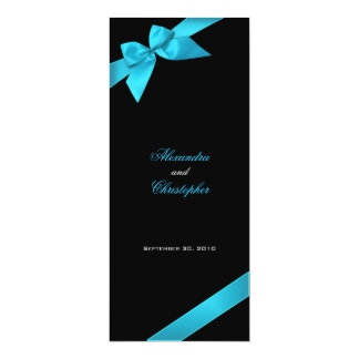Turquoise Ribbon Wedding Invitation Announcement