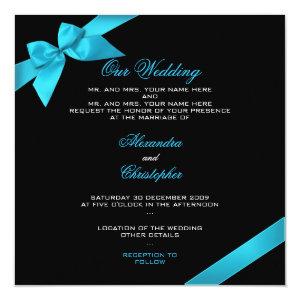 Turquoise Ribbon Wedding Invitation Announcement 2 5.25