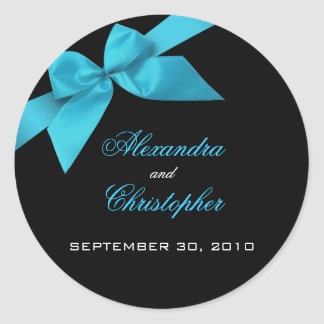 Turquoise Ribbon Wedding Invitation Announcement Classic Round Sticker