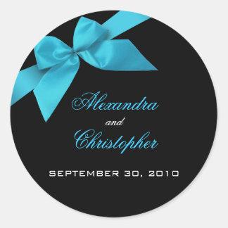 Turquoise Ribbon Wedding Invitation Announcement Classic Round Sticker