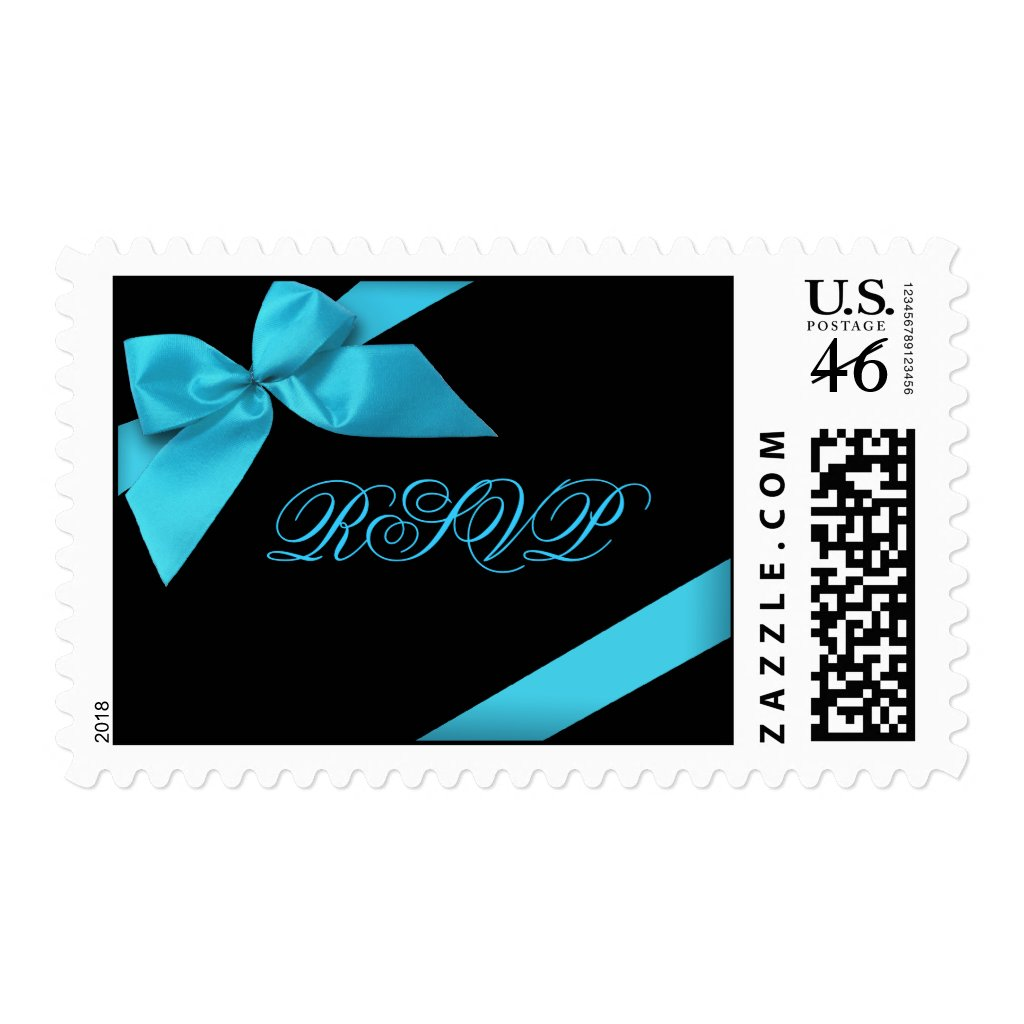 Turquoise Ribbon Wedding Invitation Announcement Stamp