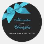 Turquoise Ribbon Wedding Invitation Announcement Round Sticker