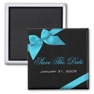Turquoise Ribbon Wedding Invitation Save The Date 2 Inch Square Magnet