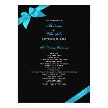 Turquoise Ribbon Wedding Program 6.5x8.75 Paper Invitation Card
