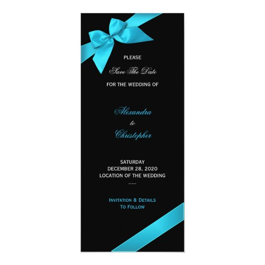 Turquoise Ribbon Wedding Save The Date 2 Card