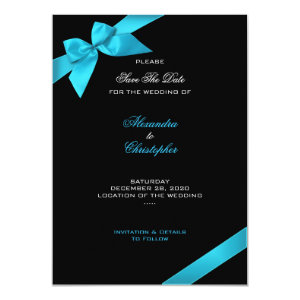 Turquoise Ribbon Wedding Save The Date 2 4.5x6.25 Paper Invitation Card