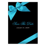 Turquoise Ribbon Wedding Save The Date MiniCard Large Business Cards (Pack Of 100)
