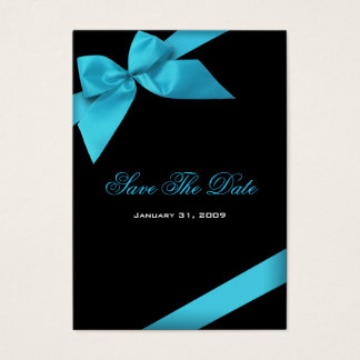 Turquoise Ribbon Wedding Save The Date MiniCard Business Card