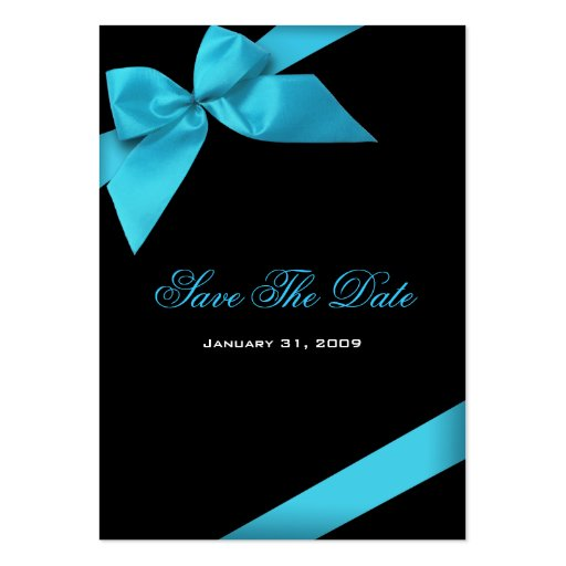 Turquoise Ribbon Wedding Save The Date MiniCard Large Business Card