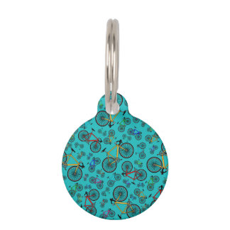 Turquoise road bikes pet ID tags