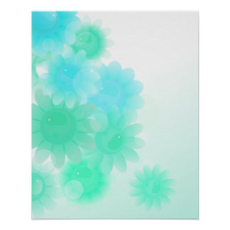 Turquoise romantic vintage flowers poster