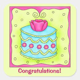 Turquoise Rose Custom Congratulations Square Sticker
