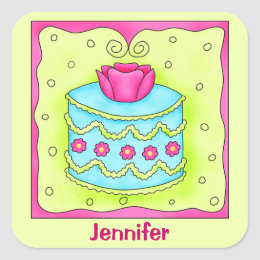 Turquoise Rose Happy Birthday Cake Monogram Square Sticker