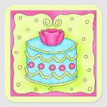 Turquoise Rose Happy Birthday Cake Square Sticker