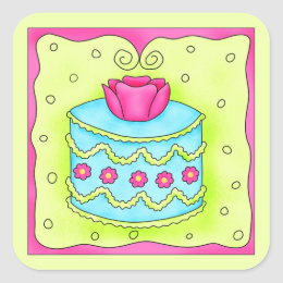 Turquoise Rose Happy Birthday Cake Square Sticker