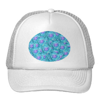 Turquoise roses trucker hat