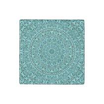 Turquoise Round Floral Mandala Garden Stone Magnet