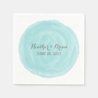 Turquoise Round Watercolor Paper Napkins