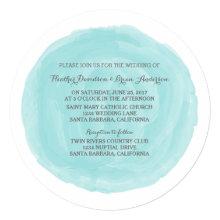 Turquoise Round Watercolor Wedding Invite