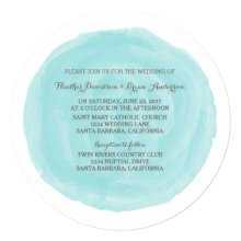 """Turquoise Round Watercolor Wedding Invite 5.25"""" Square Invitation Card"""