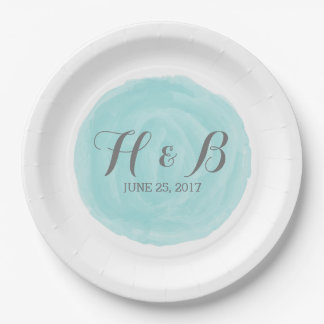 Turquoise Round Watercolor Wedding Paper Plates 9 Inch Paper Plate