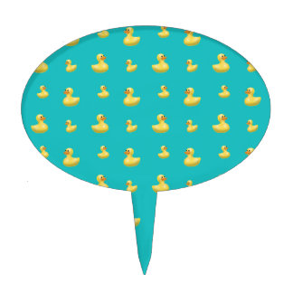 Turquoise rubber duck pattern cake picks