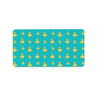 Turquoise rubber duck pattern custom address labels