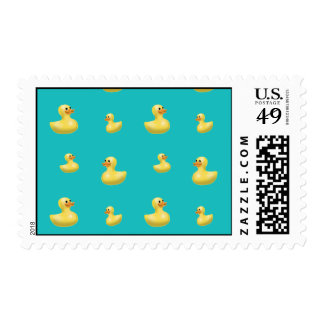Turquoise rubber duck pattern postage