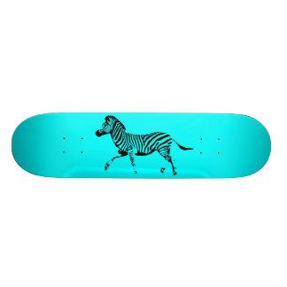 Turquoise Running Zebra Skate Board Deck
