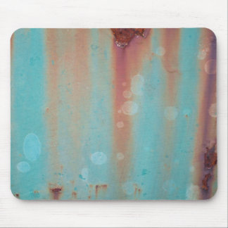 Turquoise Rusted Metal Mouse Pad