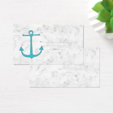 Beach Themed Turquoise Rustic Anchor Wedding Place Cards