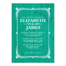 Turquoise Rustic Barn Wood Wedding Invitations
