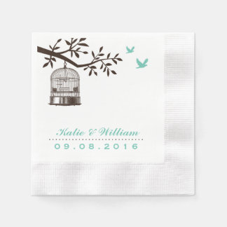 Turquoise Rustic Bird Cage Wedding Paper Napkin