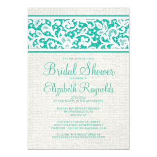 Turquoise Rustic Burlap Linen Bridal Shower Invite Invitation