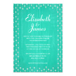 Turquoise Rustic Country Wood Wedding Invitations Card