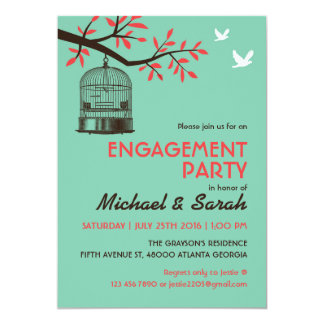 Turquoise Rustic Engagement Party Invitation Bird