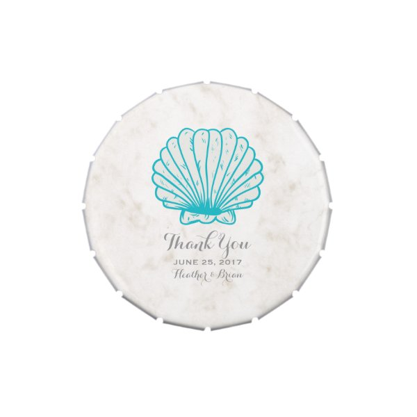 Turquoise Rustic Seashell Wedding Jelly Belly Candy Tins