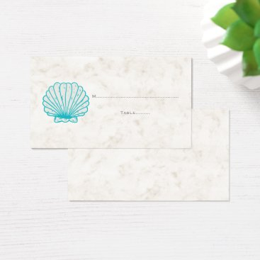 Beach Themed Turquoise Rustic Seashell Wedding Place Cards