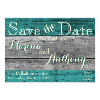 Turquoise Rustic Splash Save the Date No.6 Card
