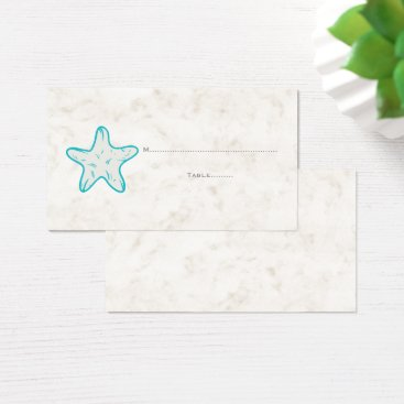 Beach Themed Turquoise Rustic Starfish Wedding Place Cards