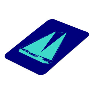 Turquoise Sailboat On Navy Blue Coastal Decor Magnet