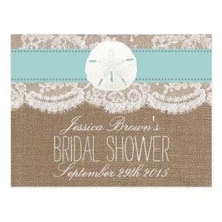 Turquoise Sand Dollar Beach Bridal Shower Recipes Postcard