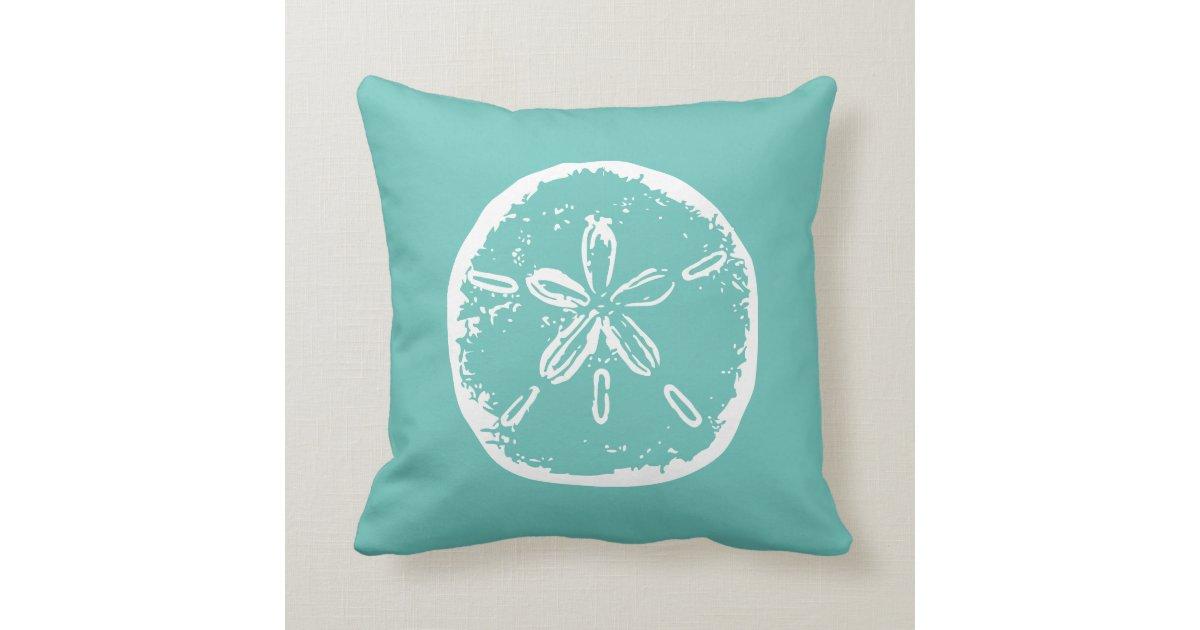 Throw Pillows Under 5 Dollars : Turquoise sand dollar beach decor throw pillow Zazzle