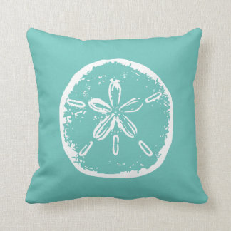 Turquoise sand dollar beach decor throw pillow